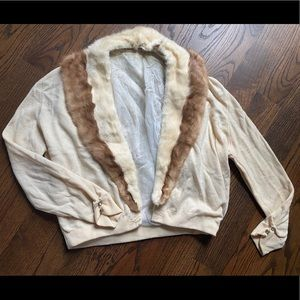 Sweaters - Vintage wool & mink collar cardigan